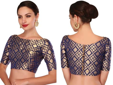 boat neck plain blouse give stylish spin to your plain sarees with brocade
