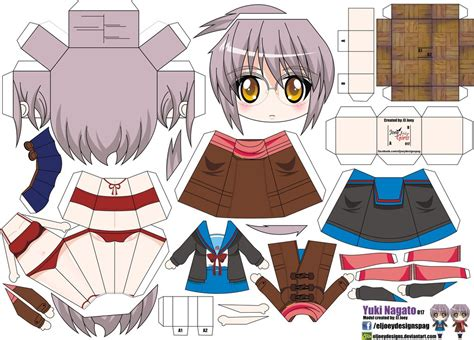 Anime Papercrafts - yuki nagato papercraft by eljoeydesigns on deviantart