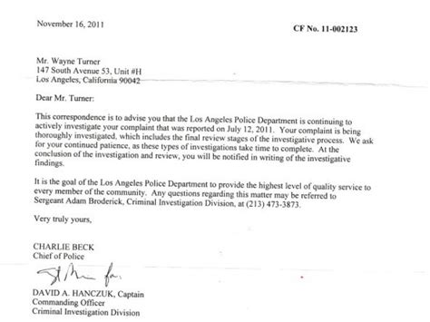 Complaint Letter Closing Remarks Lapd Investigating Misconduct Complaint In Turner