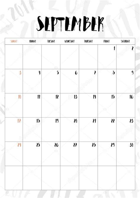 Kalender 2017 Monat Vektor 2017 Kalender Monat September Mit Tabelle Auf 2017
