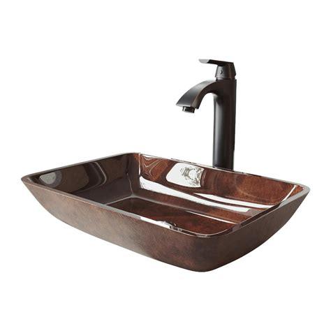 vigo russet glass vessel sink vigo 18 rectangular russet glass vessel bathroom sink set