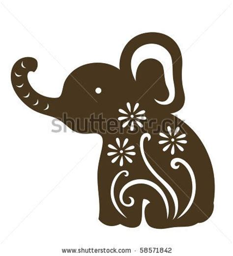 elephant tattoo clipart stock vector decorative baby elephant sitting