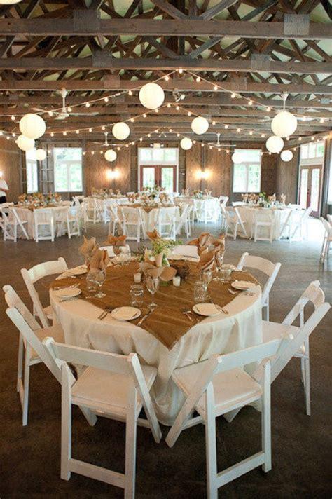 Burlap table runners, paper lanterns   Wedding decorations