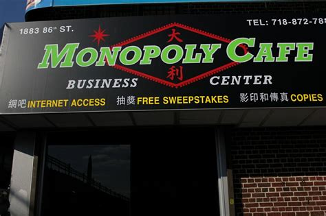 How Do Sweepstakes Cafes Work - monopoly cafe new york city exterior welcome sign from monopoly cafe in brooklyn ny 11214