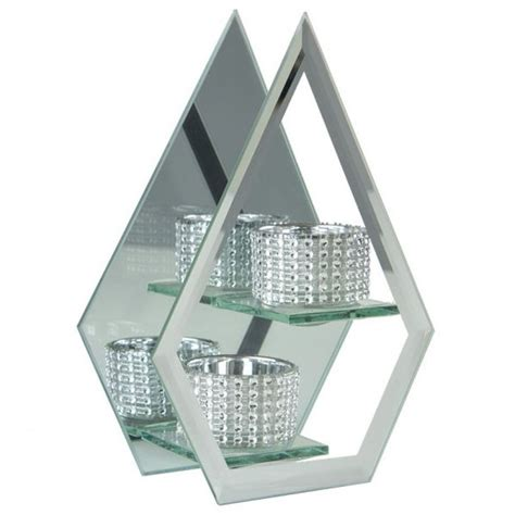 mirrored tea light candle holders mirrored glass prism tea light holder