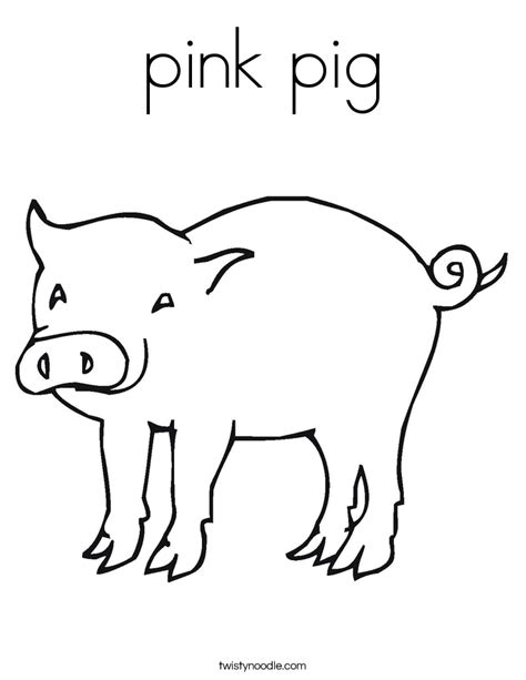 pink pig coloring page twisty noodle