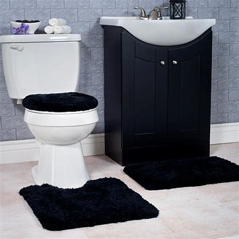 Black Bathroom Rug Set Plush 3 Non Slip Bath Mat Rug Set Black 7636175 Hsn