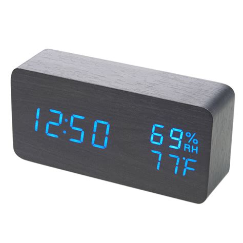 unique wooden digital led desk voice control alarm clock timer thermometer hot ebay