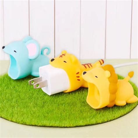 charger adapter data cable bite protector tiger lion animal phone silicone charging earphone