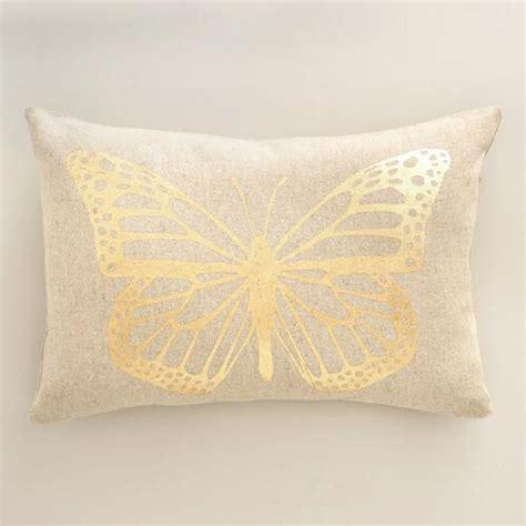 Butterfly Pillows by Gold Butterfly Linen Lumbar Pillow World Market