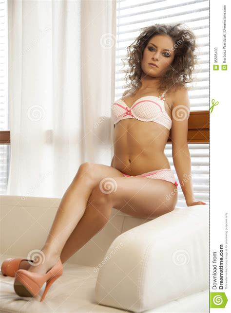 adults in bed hot beautiful brunette in bed stock photo image 35595490