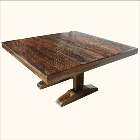 Square Wood Dining Table For 8 60 Square Rustic Dining Room Table For 8 Solid Wood Trestle Pedestal Furniture Ebay