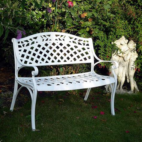 rose bench white rose metal garden bench lazy susan