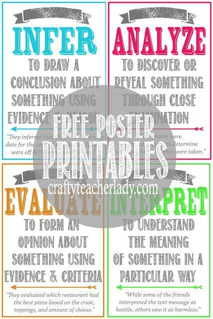 printable classroom poster free set of printable critical thinking skills posters