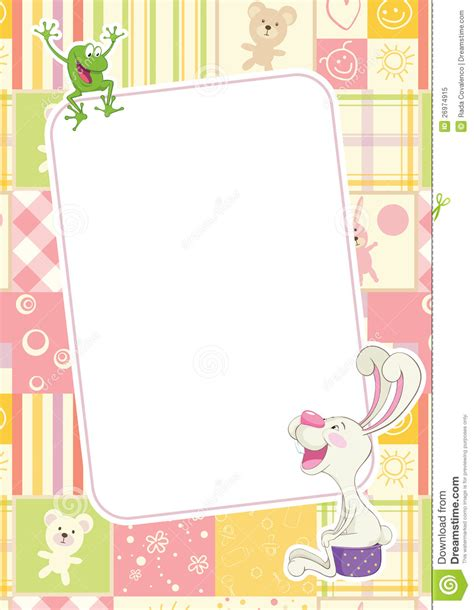 girl frame girls childrens frame with rabbit and frog royalty free