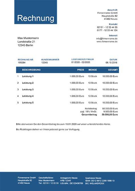 Design Vorlagen Rechnungen kleinunternehmer rechnung rechnungsvorlagen f 252 r