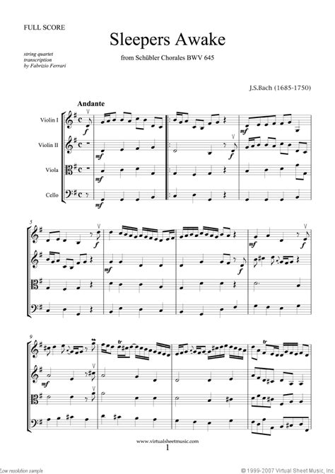 Sleepers Awake Piano by Bach Sleepers Awake Sheet For String Quartet
