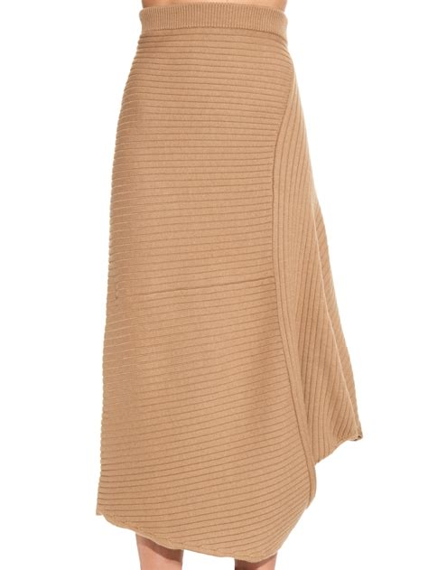 ribbed knit skirt j w ribbed wool knit midi skirt in lyst