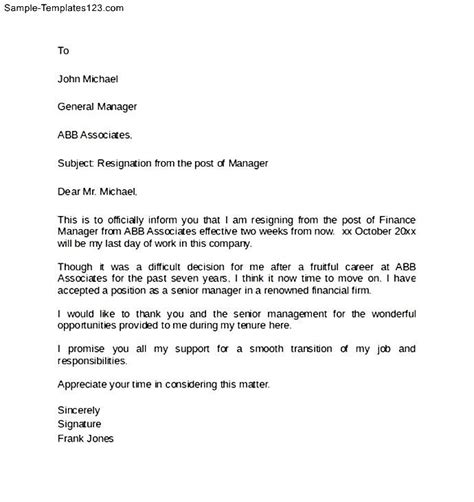 manager post resignation notice letter sle templates