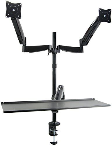 vivo height adjustable standing desk vivo dual monitor sit stand height adjustable workstation
