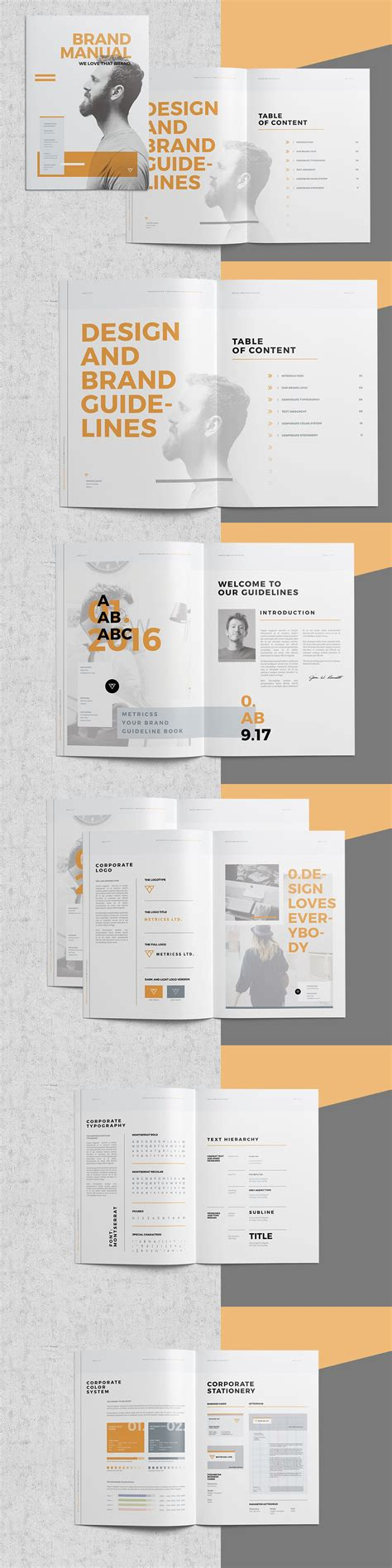 brochure template book landscape brand book brochure template pinteres indesign
