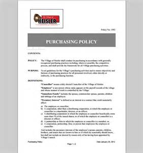 Purchasing Manual Template by Purchase Template Policy Template Of Purchase Policy