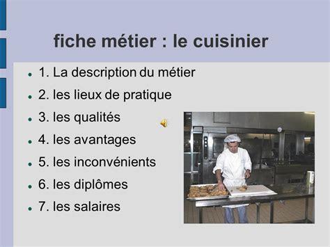 salaire d un chef de cuisine fiche m 233 tier le cuisinier ppt t 233 l 233 charger