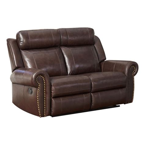 brown leather reclining set abbyson living ellie 3 top grain leather reclining