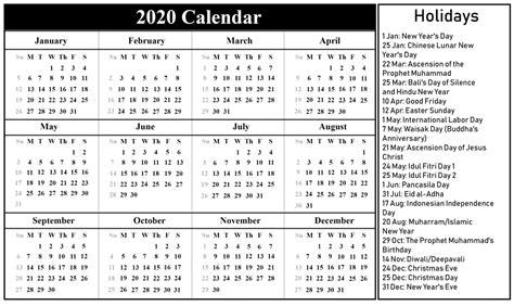 printable   indonesia calendar   excel word  printable calendar