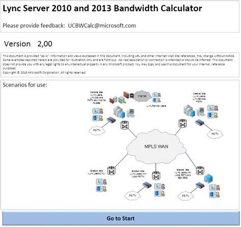 calculator bandwidth lync online bandwidth utilization calculator it for