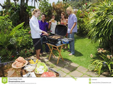 backyard bar b que friends at a backyard bar b que royalty free stock photography image 13916937