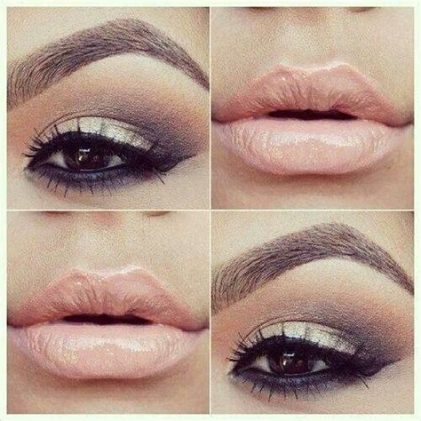 Light Eyeshadow brown eyeshadow and light pink lipstick makeup