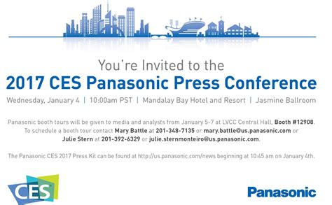 Press Conference Invitation Letter To Media Media Alert Panasonic At Ces 2017 Ces2017 Panasonic Booth Highlghts Panasonic Newsroom Global