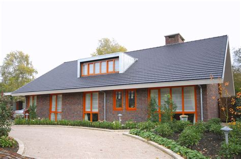 Gable Style House Modern Detached House Overhanging Gable Roof Bricks Walls