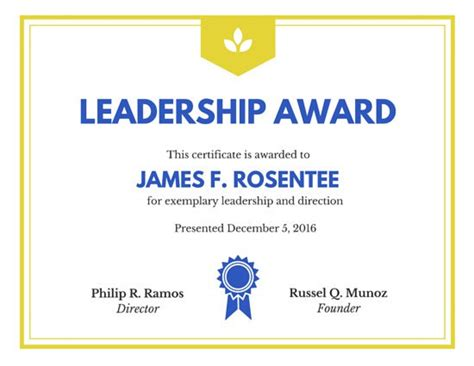 Leadership Award Certificate Templates By Canva Leadership Certificate Template Free