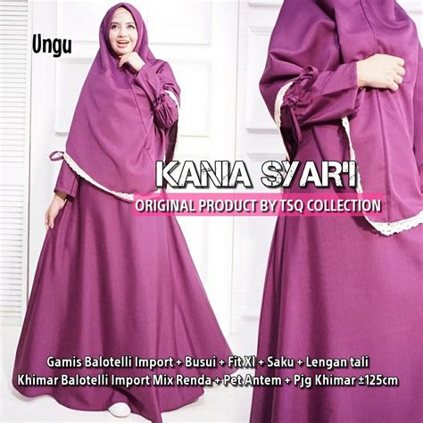 Kania Syar I by Gamis Syari Baloteli Polos Kania Baju Muslim Katun