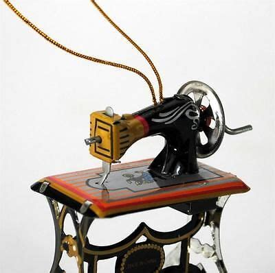 tin toy sewing machine christmas tree ornament 3 quot retro