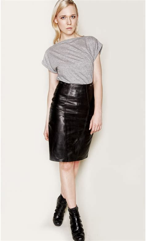 leather midi skirt with braces mondefile
