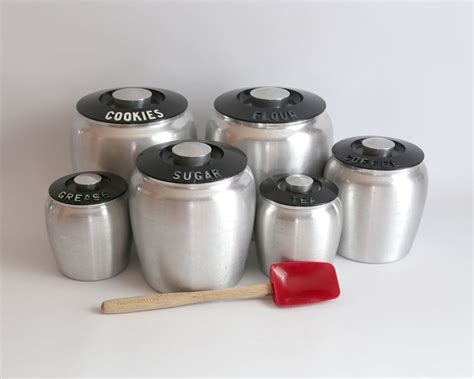 kitchen canister sets vintage vintage kromex aluminum kitchen canister set retro mid