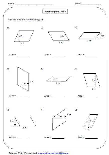 Finding The Area Of Parallelograms Worksheets area of parallelogram worksheet homeschooldressage
