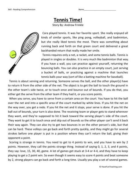 reading comprehension test for 5th grade reading comprehension worksheet tennis time