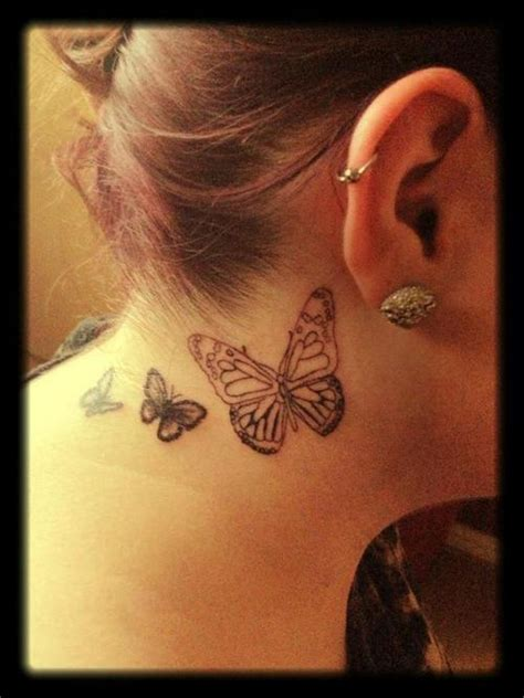 side neck tattoos butterfly tattoos on side of neck