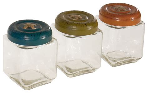 kitchen glass canisters with lids glass jars with metal button lids set of 3 rustic