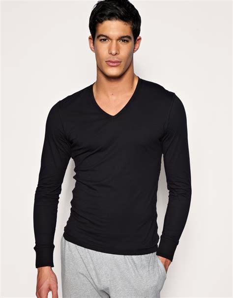 Sleeve Neck paul smith sleeve v neck top in black for