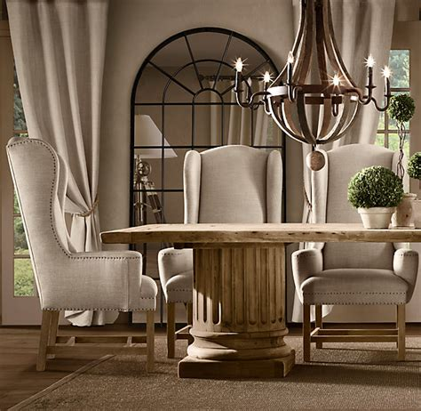 restoration hardware dining room chairs belfort wingback upholstered dining chair fabric arm
