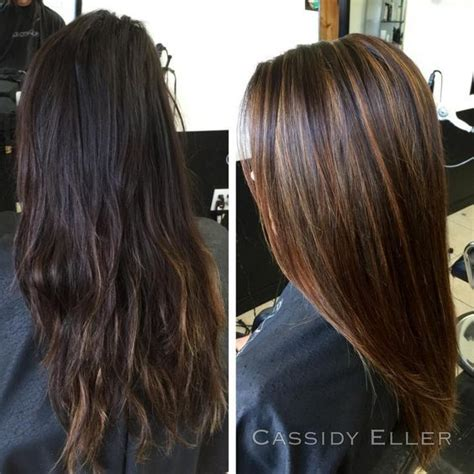 the best shoo for hair with highlight dark brown hair with caramel highlights before and after