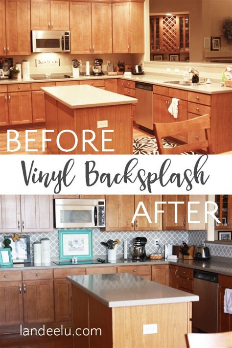 vinyl kitchen backsplash easy vinyl backsplash for the kitchen landeelu