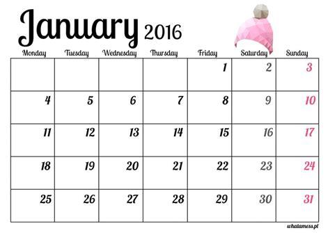 Calendario Año 2016 Kartka Z Kalendarza Styczeń 2016 What A Mess