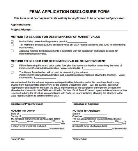fema templates fema application form 8 free documents in pdf