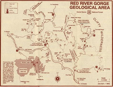 river gorge map river gorge geological area daniel boone national forest ky map red river gorge